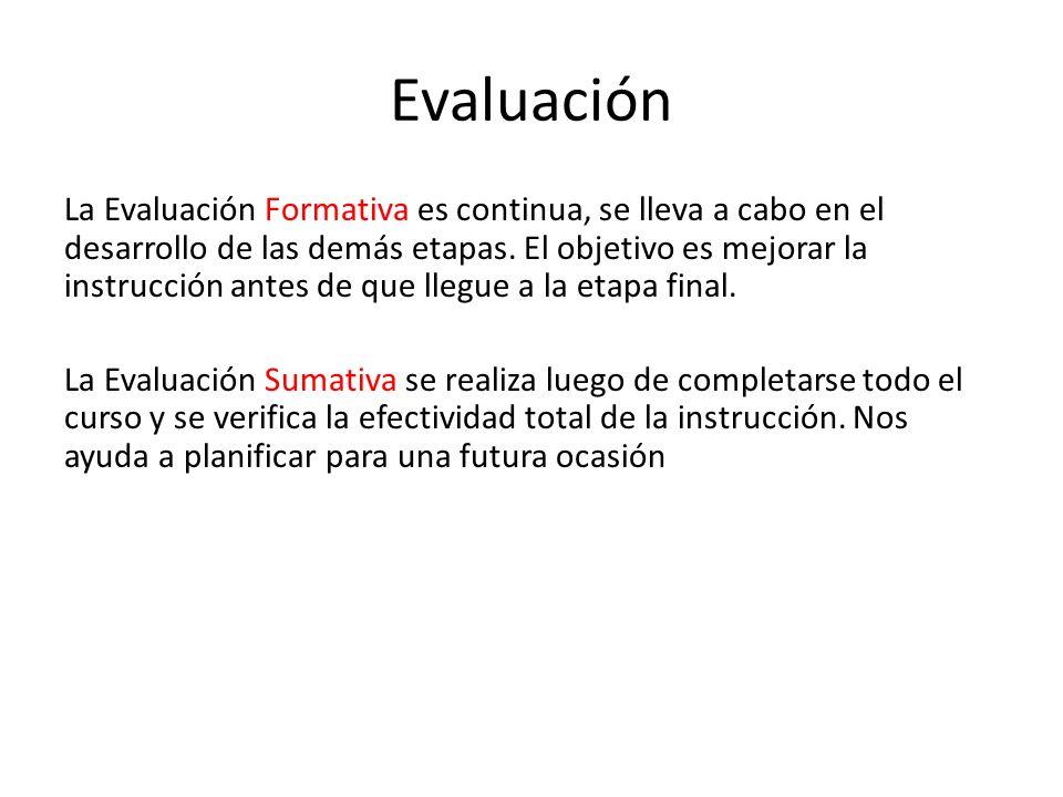 Evaluación La Evaluación Formativa es continua, se lleva a cabo en el desarrollo de las demás etapas. El objetivo es mejorar la instrucción antes de q