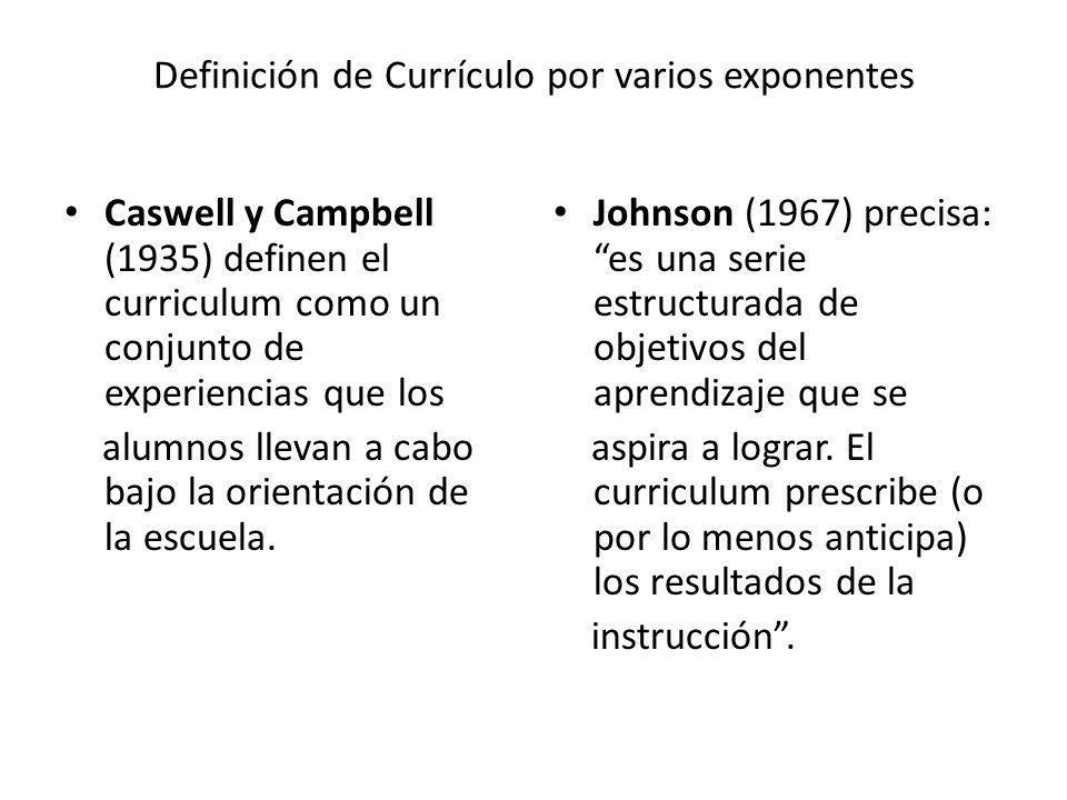 Definición de Currículo por varios exponentes Caswell y Campbell (1935) definen el curriculum como un conjunto de experiencias que los alumnos llevan