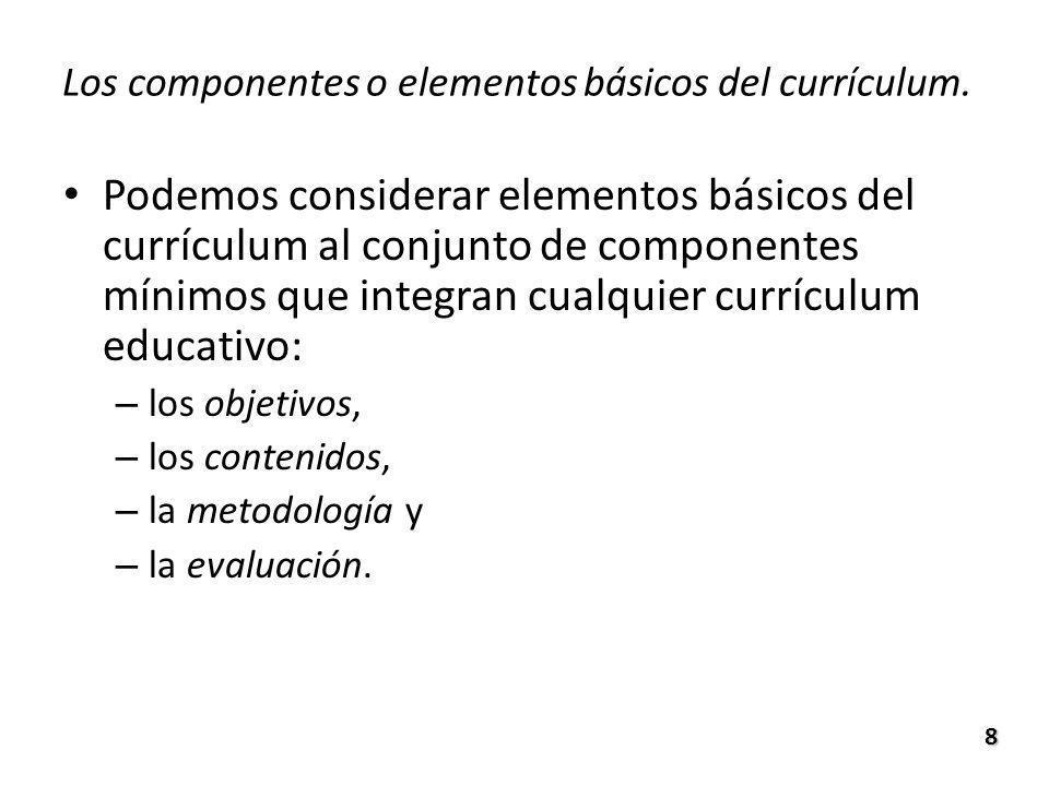 Los componentes o elementos básicos del currículum. Podemos considerar elementos básicos del currículum al conjunto de componentes mínimos que integra