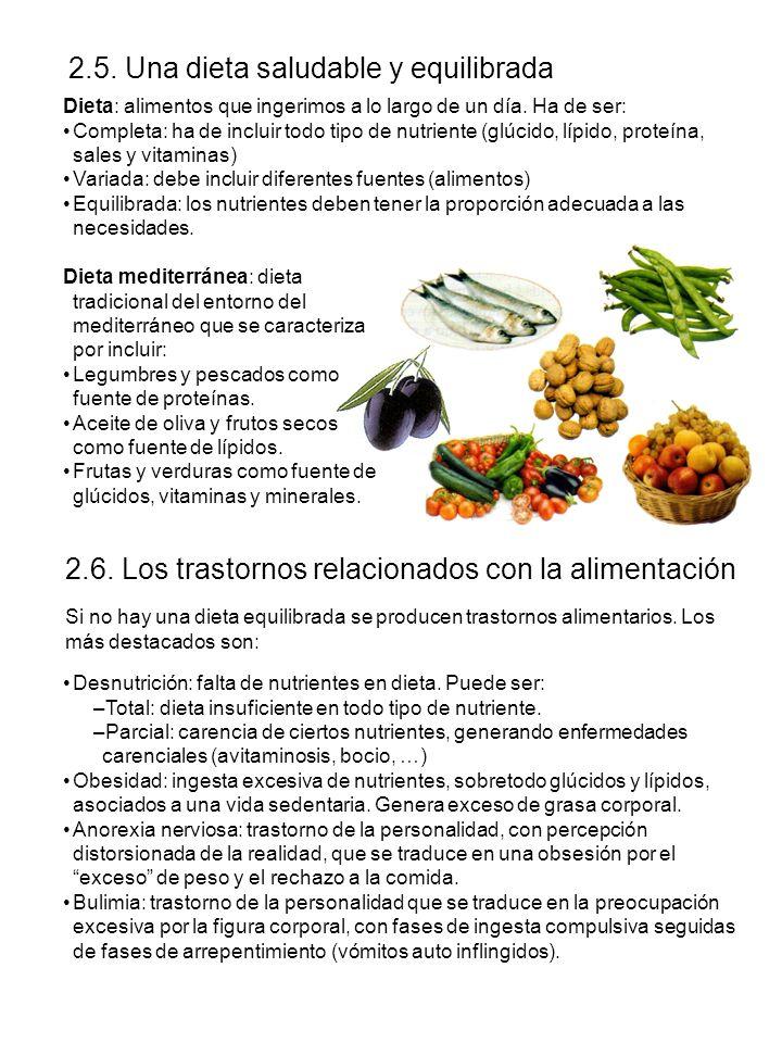 2.5. Una dieta saludable y equilibrada 2.6. Los trastornos relacionados con la alimentación Dieta: alimentos que ingerimos a lo largo de un día. Ha de