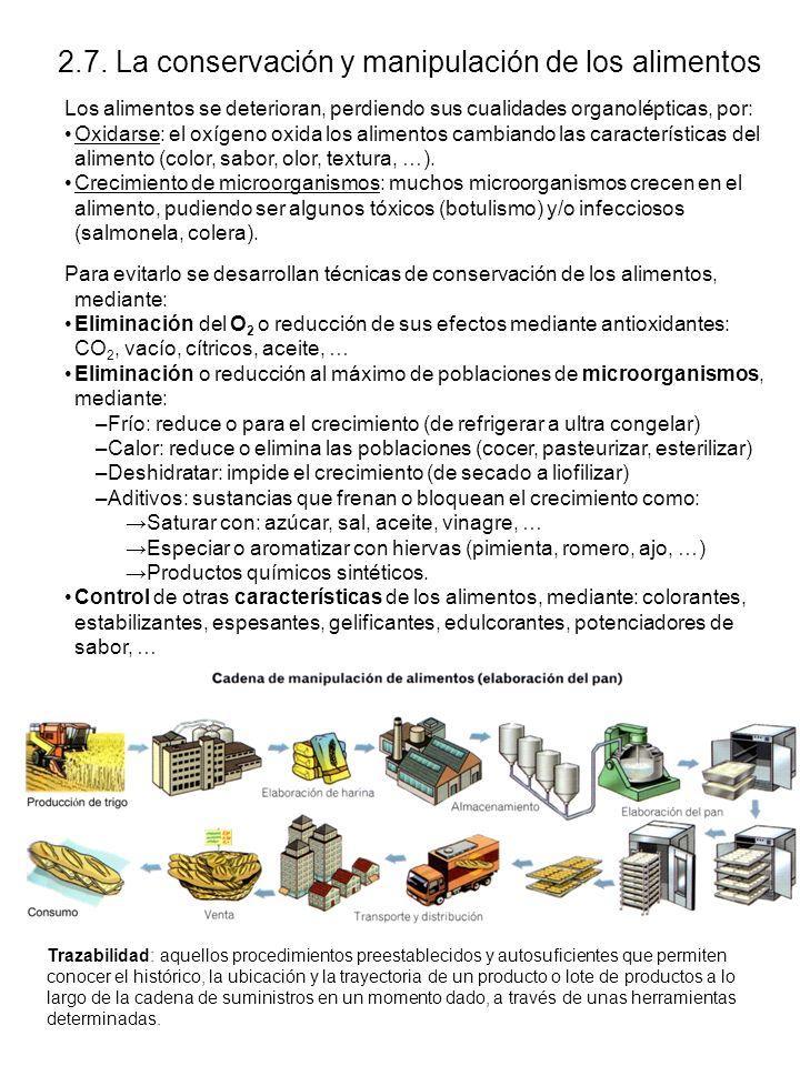 2.7. La conservación y manipulación de los alimentos Los alimentos se deterioran, perdiendo sus cualidades organolépticas, por: Oxidarse: el oxígeno o