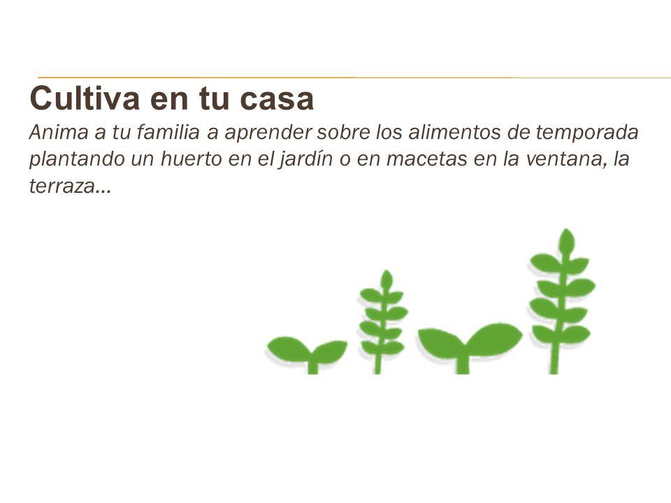 Cultiva en tu casa Anima a tu familia a aprender sobre los alimentos de temporada plantando un huerto en el jardín o en macetas en la ventana, la terr