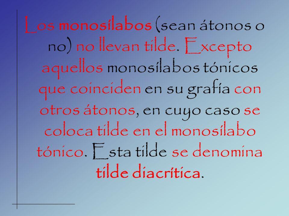Los monosílabos (sean átonos o no) no llevan tilde. Excepto aquellos monosílabos tónicos que coinciden en su grafía con otros átonos, en cuyo caso se