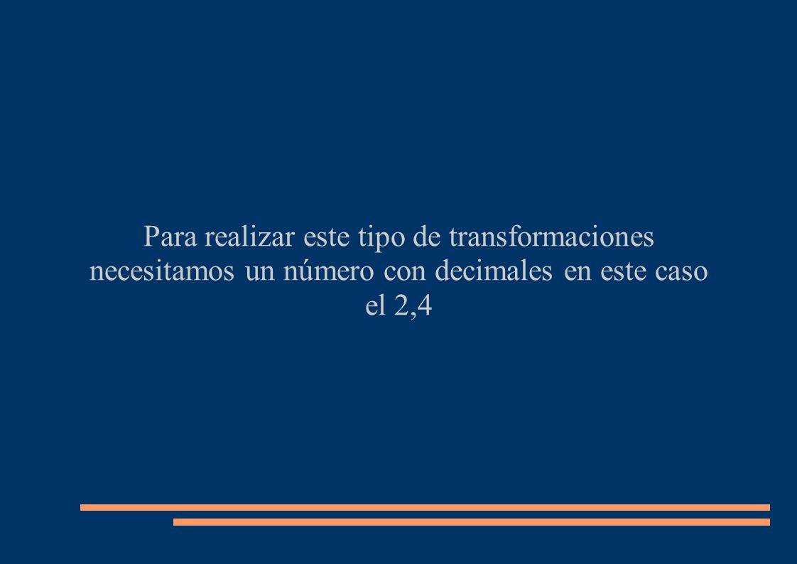 Para realizar este tipo de transformaciones necesitamos un número con decimales en este caso el 2,4