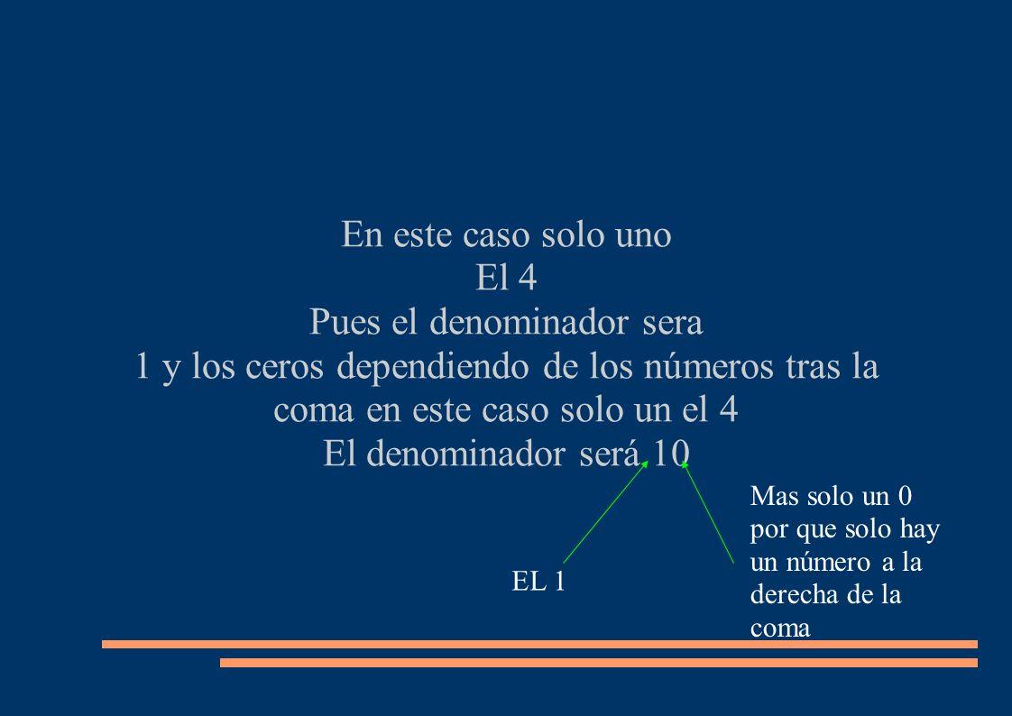 En este caso solo uno El 4 Pues el denominador sera 1 y los ceros dependiendo de los números tras la coma en este caso solo un el 4 El denominador ser