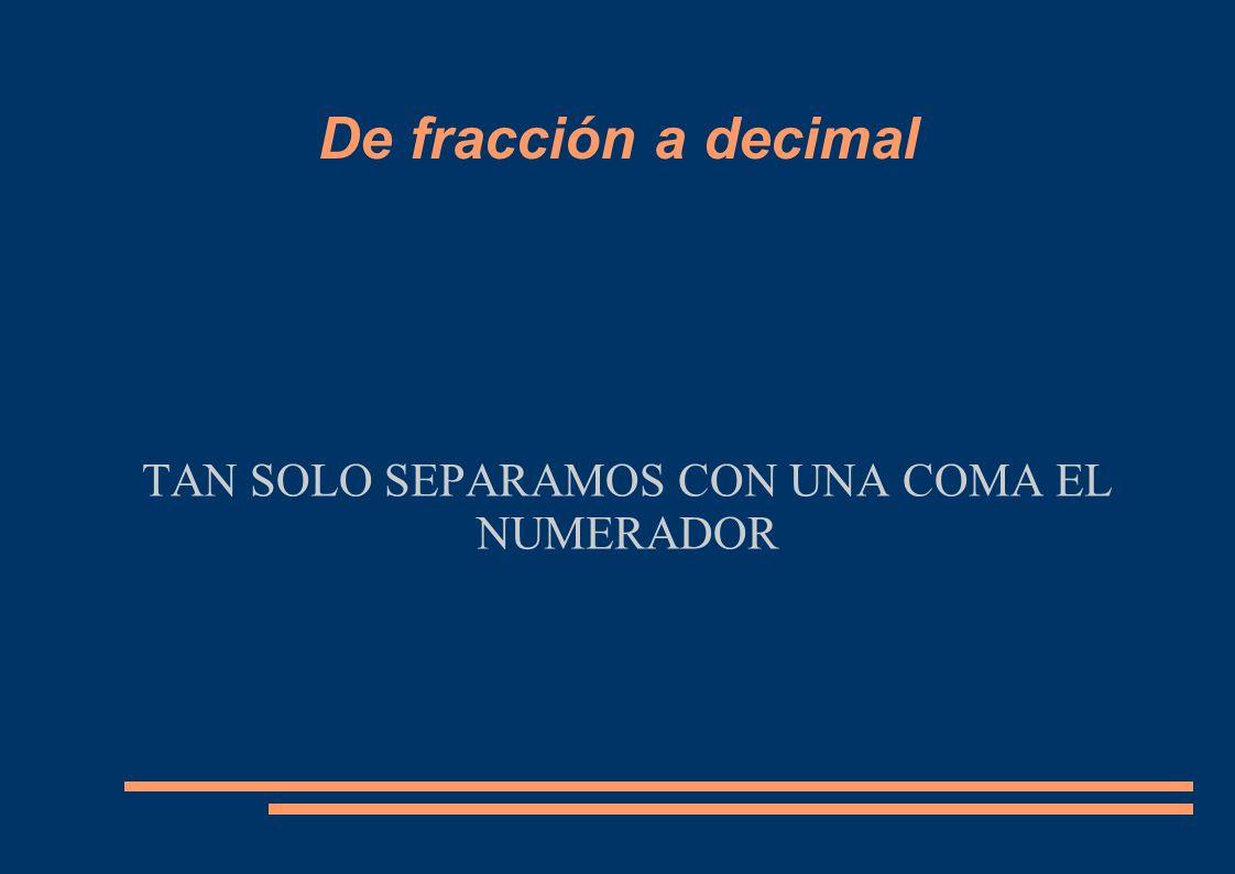 TAN SOLO SEPARAMOS CON UNA COMA EL NUMERADOR De fracción a decimal