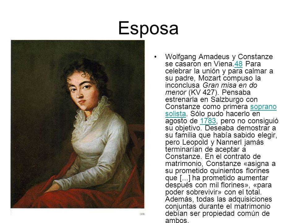 Esposa Wolfgang Amadeus y Constanze se casaron en Viena.48 Para celebrar la unión y para calmar a su padre, Mozart compuso la inconclusa Gran misa en