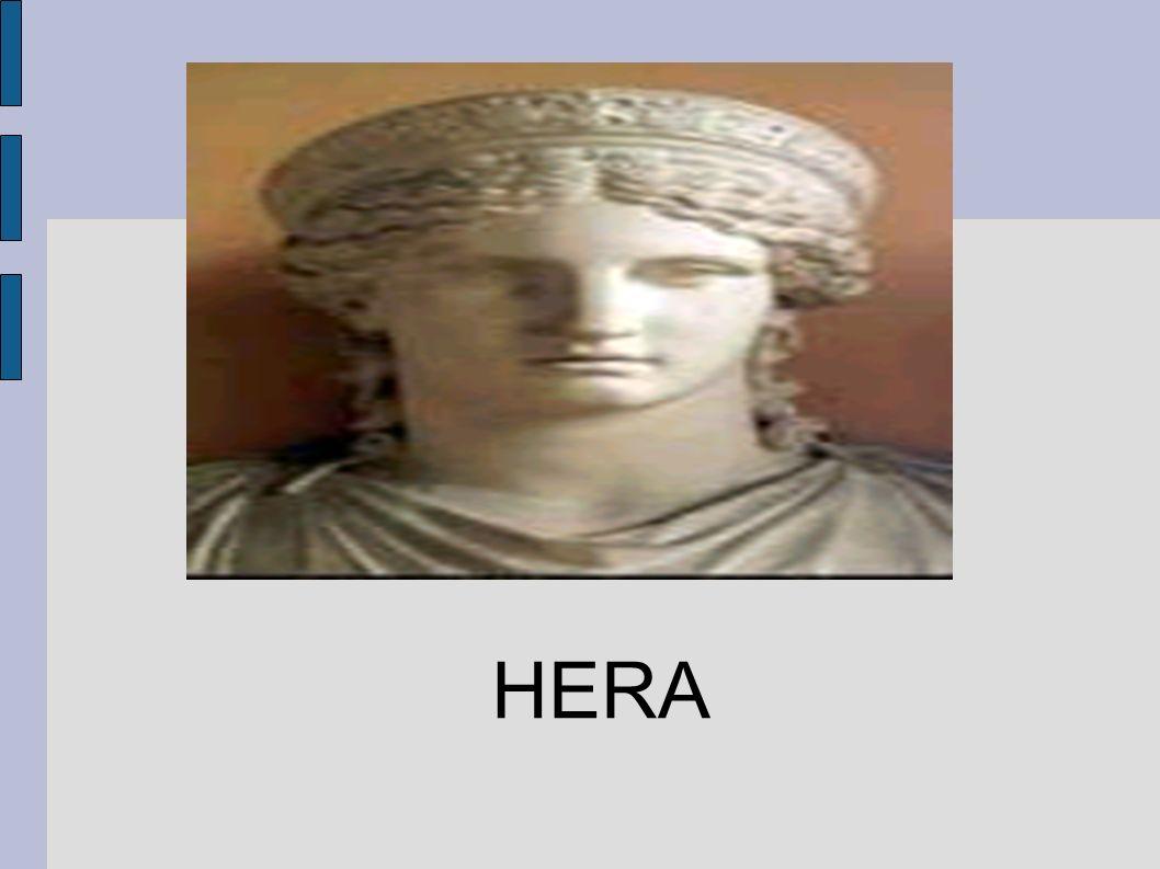 Hera es en la mitología griega, reina de los dioses, hija de los titanes Cronos y Rea, hermana y mujer del dios Zeus..