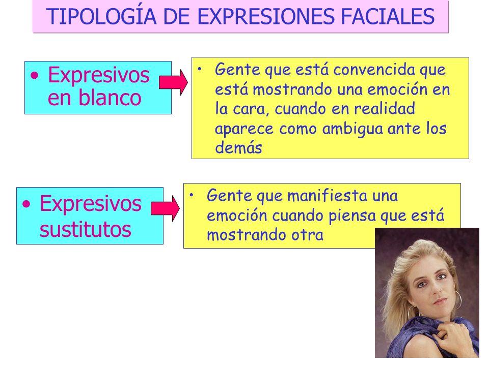 TIPOLOGÍA DE EXPRESIONES FACIALES Retraídos Personas cuya expresión facial no varía y muestra poca o ninguna expresión facial en su rostro Reveladores