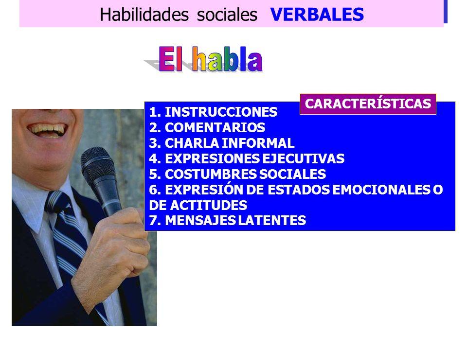 Habilidades sociales VERBALES Instrumento de comunicación por excelencia del ser humano. OBJETIVOS 6. Comunicar ideas 7. Describir sentimientos 8. Raz