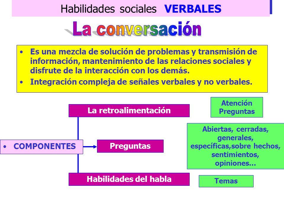 Habilidades sociales VERBALES DESTREZAS NECESARIAS Control de la ansiedad Dominio del lenguaje Dominio/conocimiento del contenido del discurso Subhabi