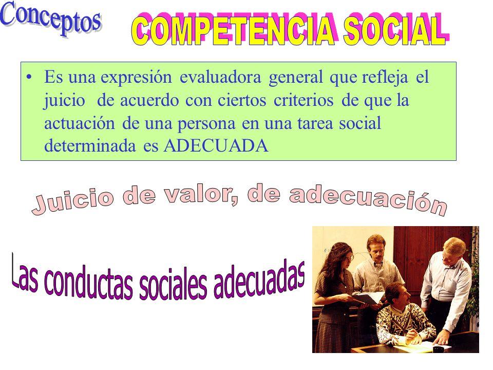 Es una expresión evaluadora general que refleja el juicio de acuerdo con ciertos criterios de que la actuación de una persona en una tarea social determinada es ADECUADA