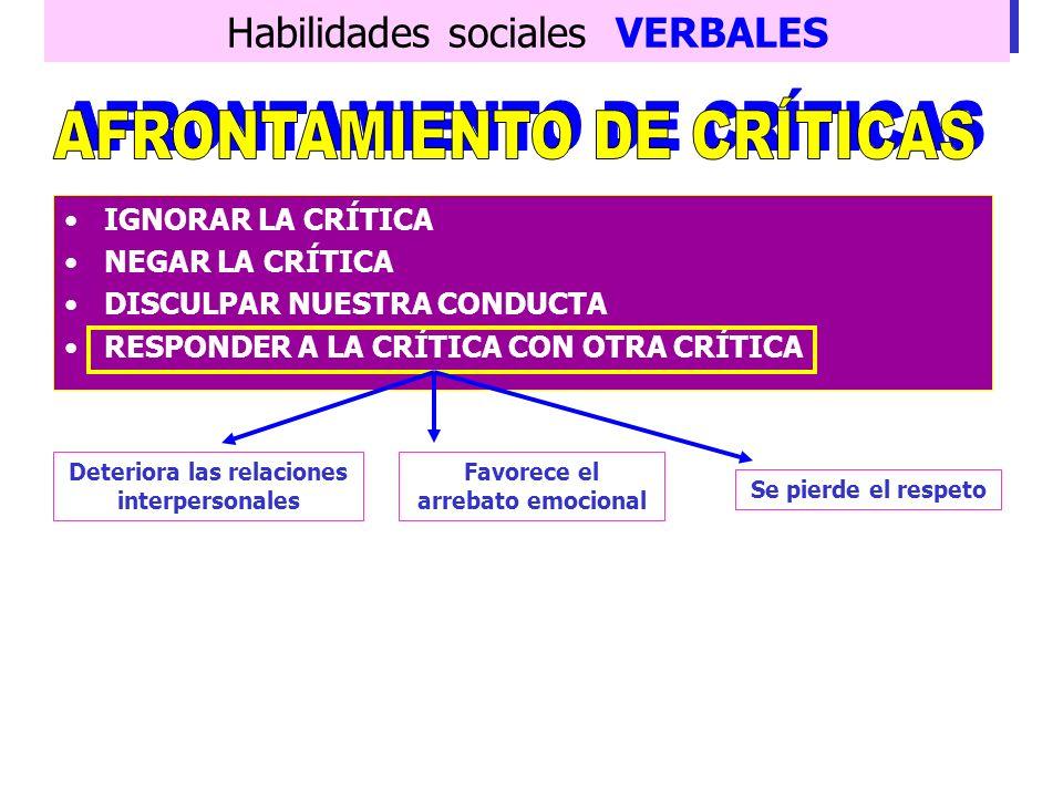 Habilidades sociales VERBALES Deben emplearse los componentes conversacionales de INICIAR, MANTENER Y FINALIZAR Frecuencia de la crítica ajena Respond