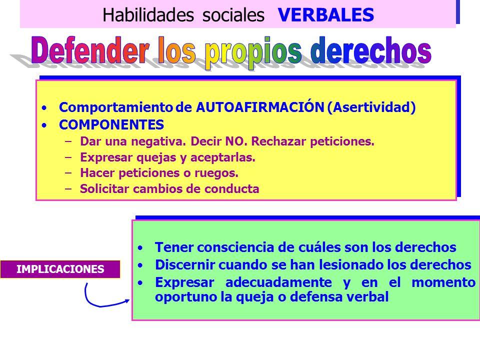 Habilidades sociales VERBALES Guión DEIC DESCRIBIREXPRESAR INFORMAR CONSECUENCIAS Describir la conducta que ocasiona la molestia Expresar los sentimie