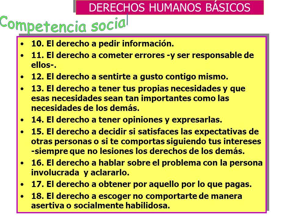 DERECHOS HUMANOS BÁSICOS 1. El derecho a mantener tu dignidad y respeto comportándose de forma habilidosa o asertiva -incluso si la otra persona se si