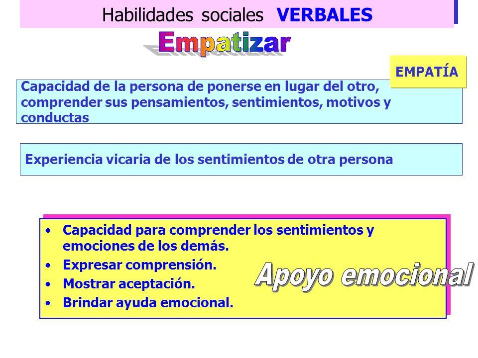 Habilidades sociales VERBALES Responder adecuada y positivamente ante los refuerzos de los demás. Agradecer el cumplido valorando el mensaje, la perso