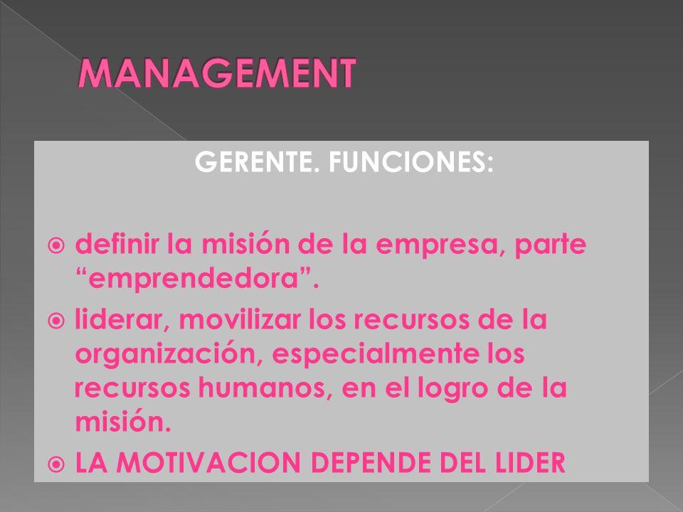 GERENTE.FUNCIONES: definir la misión de la empresa, parte emprendedora.