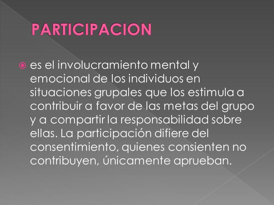 es el involucramiento mental y emocional de los individuos en situaciones grupales que los estimula a contribuir a favor de las metas del grupo y a compartir la responsabilidad sobre ellas.