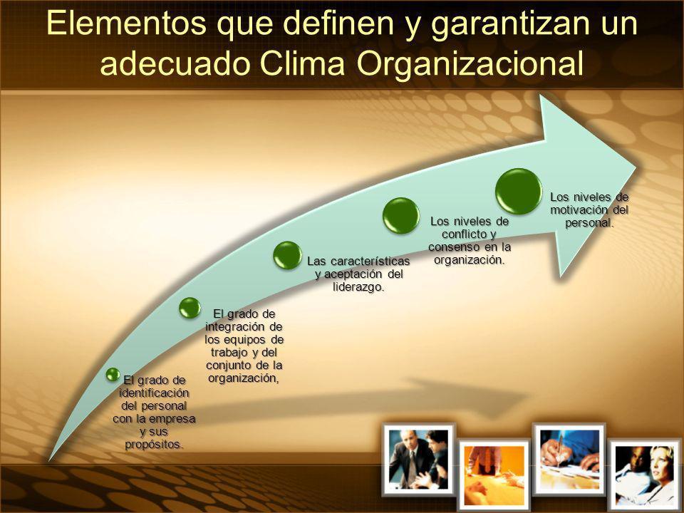 El grado de identificación del personal con la empresa y sus propósitos. El grado de integración de los equipos de trabajo y del conjunto de la organi