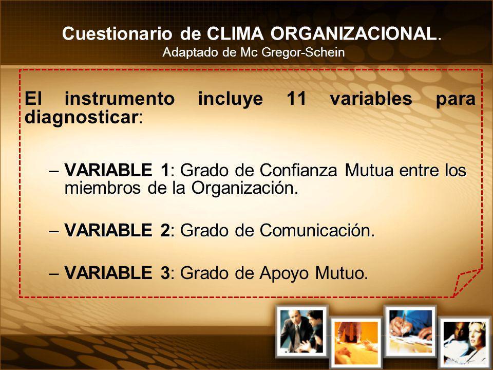 El instrumento incluye 11 variables para diagnosticar: –VARIABLE 1: Grado de Confianza Mutua entre los miembros de la Organización. –VARIABLE 2: Grado