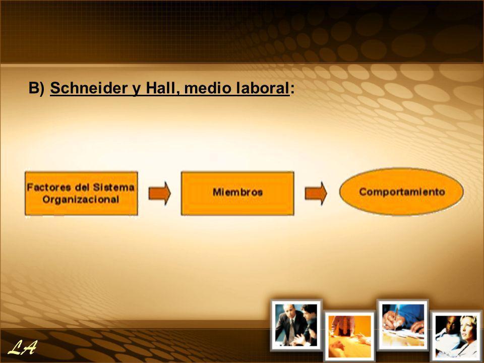 B) Schneider y Hall, medio laboral: LA