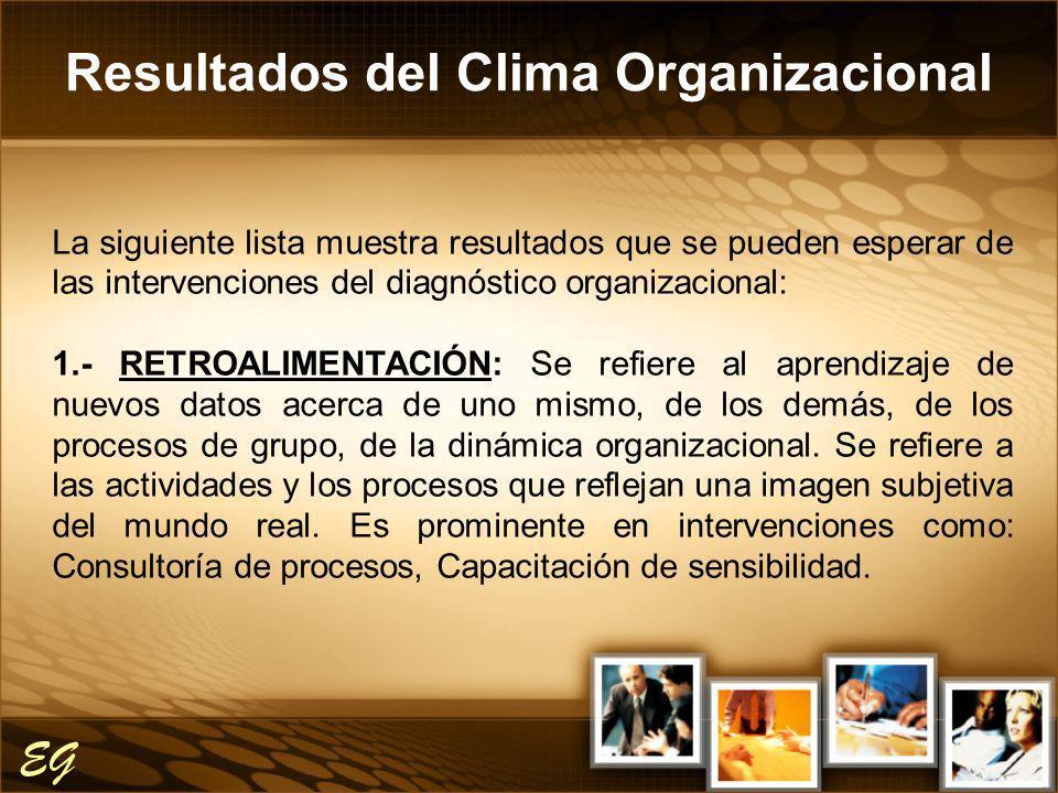 Resultados del Clima Organizacional EG La siguiente lista muestra resultados que se pueden esperar de las intervenciones del diagnóstico organizaciona