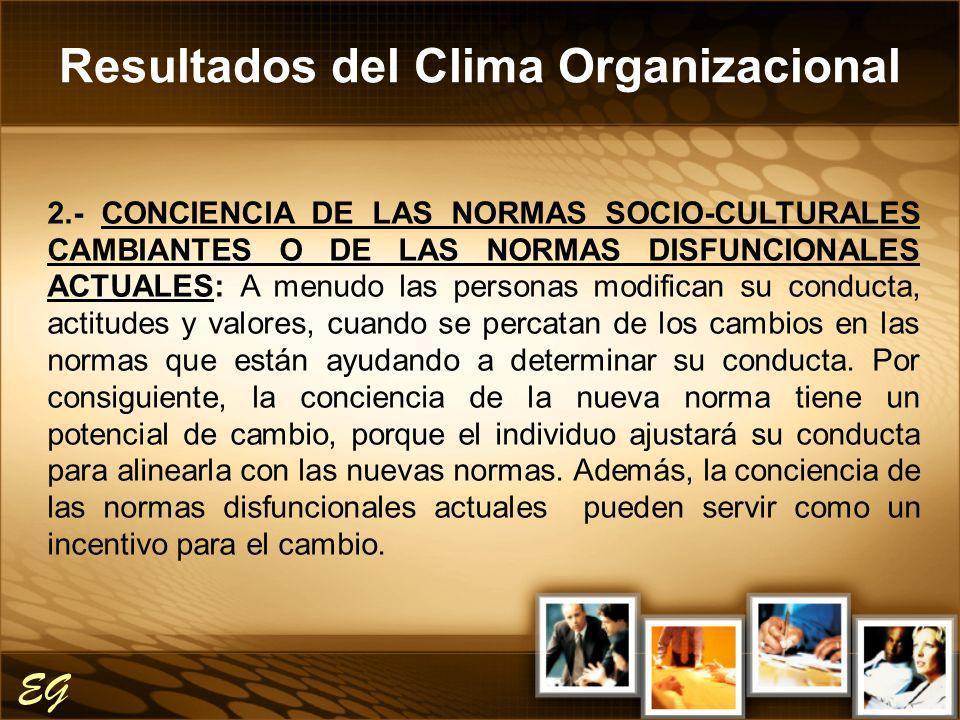 Resultados del Clima Organizacional EG 2.- CONCIENCIA DE LAS NORMAS SOCIO-CULTURALES CAMBIANTES O DE LAS NORMAS DISFUNCIONALES ACTUALES: A menudo las