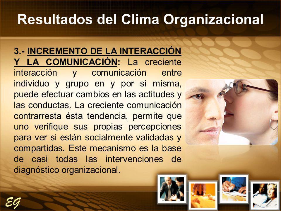 Resultados del Clima Organizacional EG 3.- INCREMENTO DE LA INTERACCIÓN Y LA COMUNICACIÓN: La creciente interacción y comunicación entre individuo y g