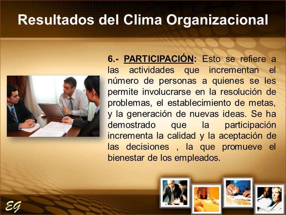 Resultados del Clima Organizacional EG 6.- PARTICIPACIÓN: Esto se refiere a las actividades que incrementan el número de personas a quienes se les per