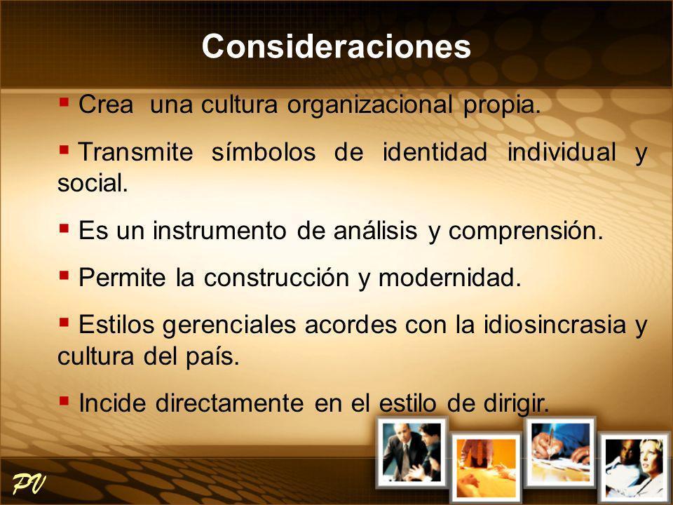 Crea una cultura organizacional propia. Transmite símbolos de identidad individual y social. Es un instrumento de análisis y comprensión. Permite la c