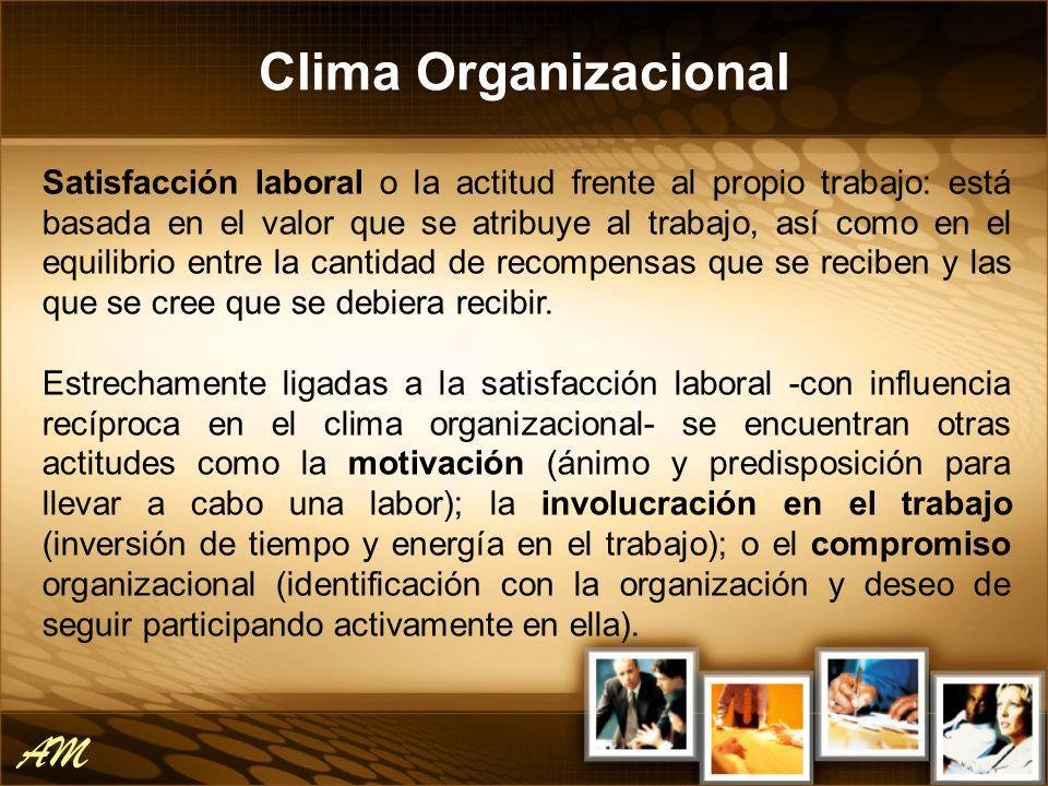 Clima Organizacional AM Satisfacción laboral o la actitud frente al propio trabajo: está basada en el valor que se atribuye al trabajo, así como en el