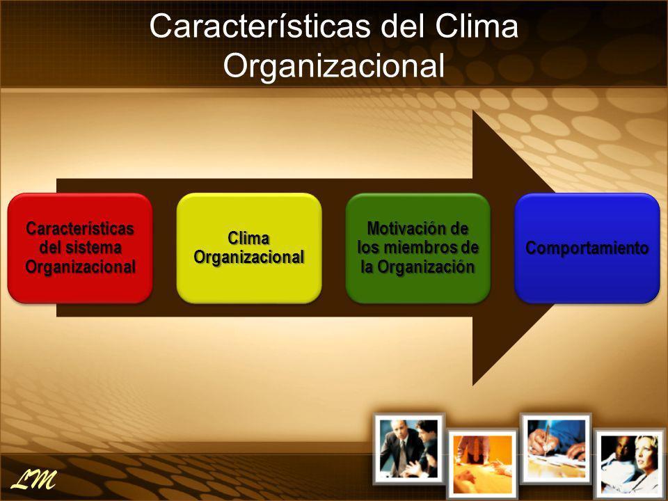 Características del Clima Organizacional * Litwin y Stinger DIMENSIONES Estructura Responsabilidad (Empowerment) Recompensa Desafío Relaciones Cooperación Estándares Conflictos Identidad LM