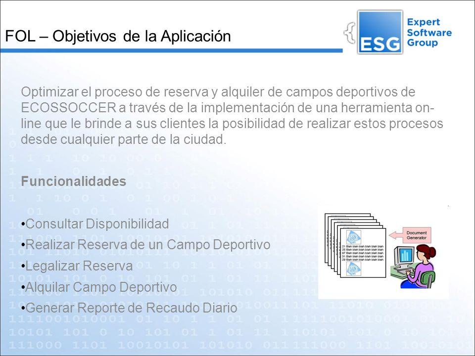 FOL – Objetivos de la Aplicación Optimizar el proceso de reserva y alquiler de campos deportivos de ECOSSOCCER a través de la implementación de una he