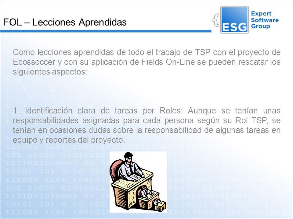 FOL – Lecciones Aprendidas Como lecciones aprendidas de todo el trabajo de TSP con el proyecto de Ecossoccer y con su aplicación de Fields On-Line se