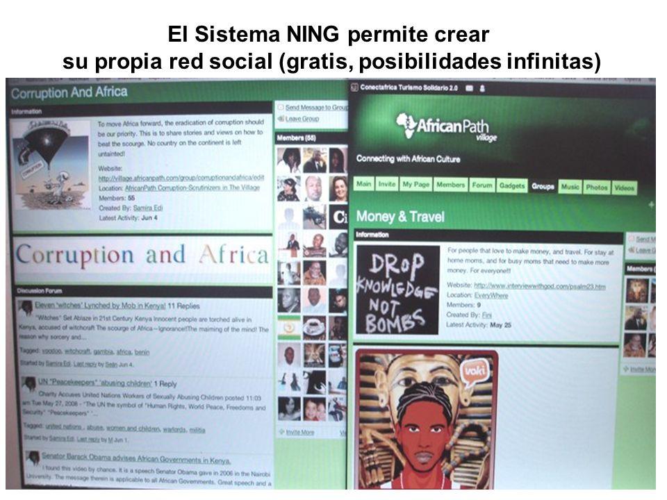 El Sistema NING permite crear su propia red social (gratis, posibilidades infinitas)