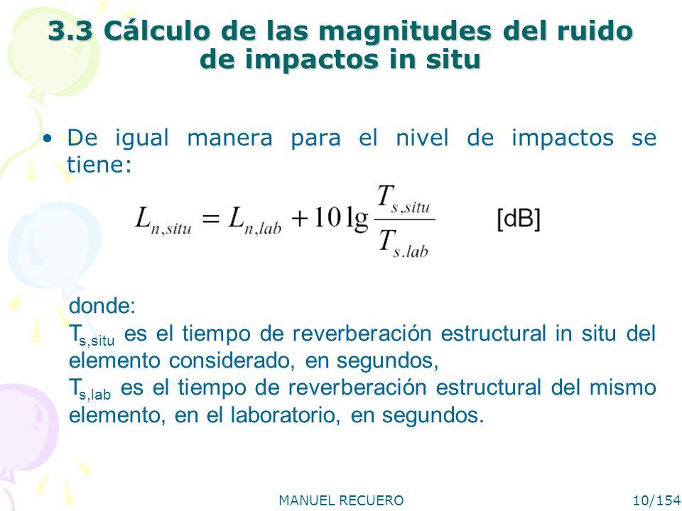 MANUEL RECUERO10/154 3.3 Cálculo de las magnitudes del ruido de impactos in situ De igual manera para el nivel de impactos se tiene: donde: T s,situ e