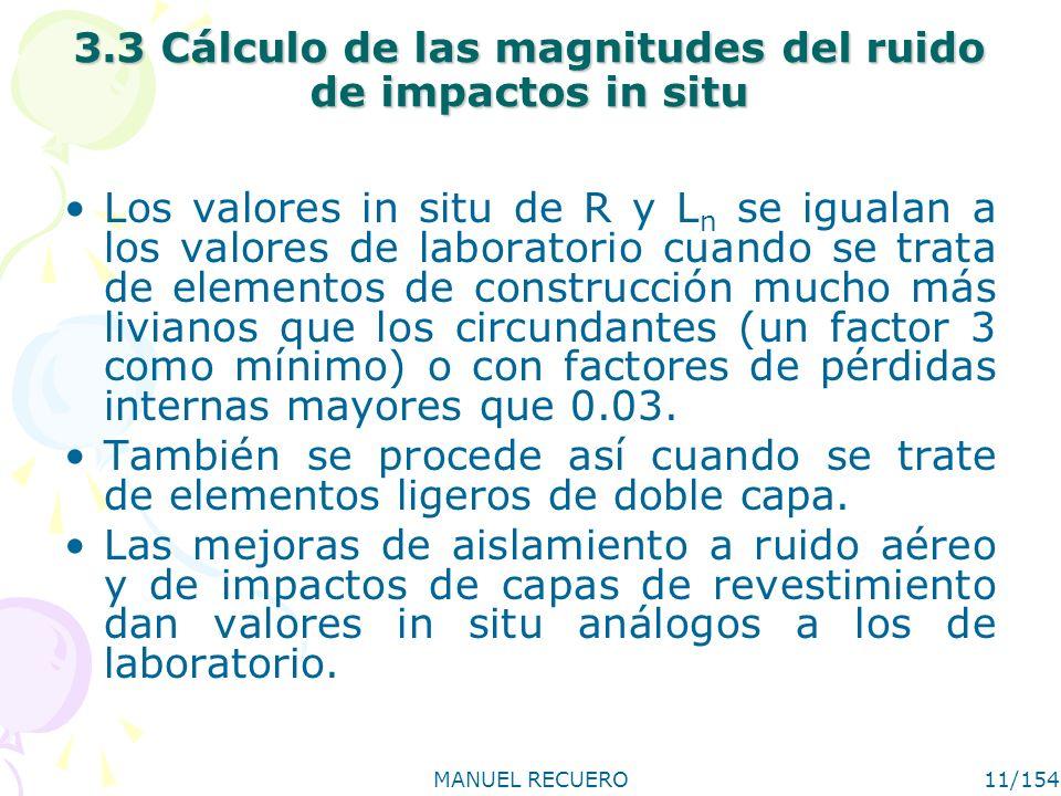 MANUEL RECUERO11/154 3.3 Cálculo de las magnitudes del ruido de impactos in situ Los valores in situ de R y L n se igualan a los valores de laboratori