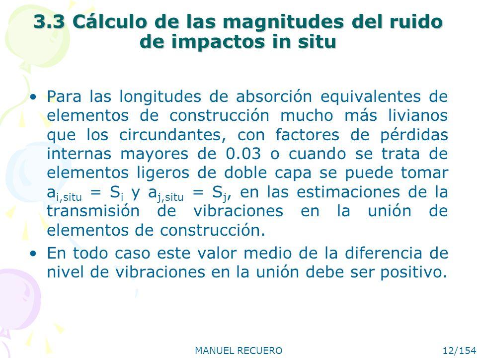 MANUEL RECUERO12/154 3.3 Cálculo de las magnitudes del ruido de impactos in situ Para las longitudes de absorción equivalentes de elementos de constru