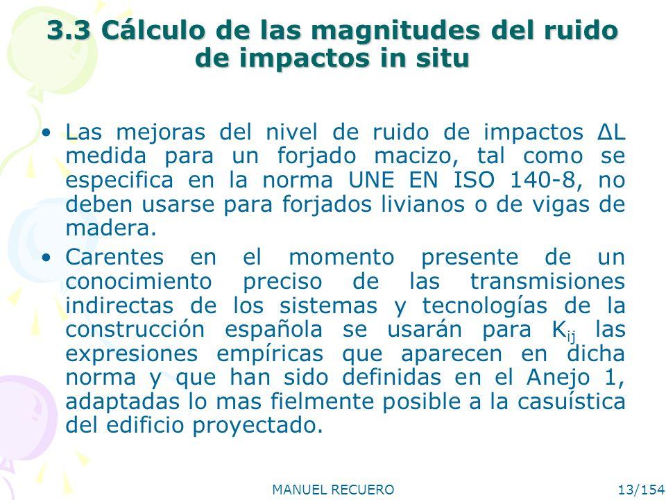 MANUEL RECUERO13/154 3.3 Cálculo de las magnitudes del ruido de impactos in situ Las mejoras del nivel de ruido de impactos ΔL medida para un forjado