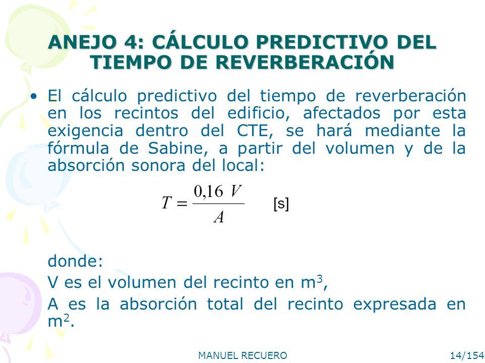 MANUEL RECUERO14/154 ANEJO 4: CÁLCULO PREDICTIVO DEL TIEMPO DE REVERBERACIÓN El cálculo predictivo del tiempo de reverberación en los recintos del edi