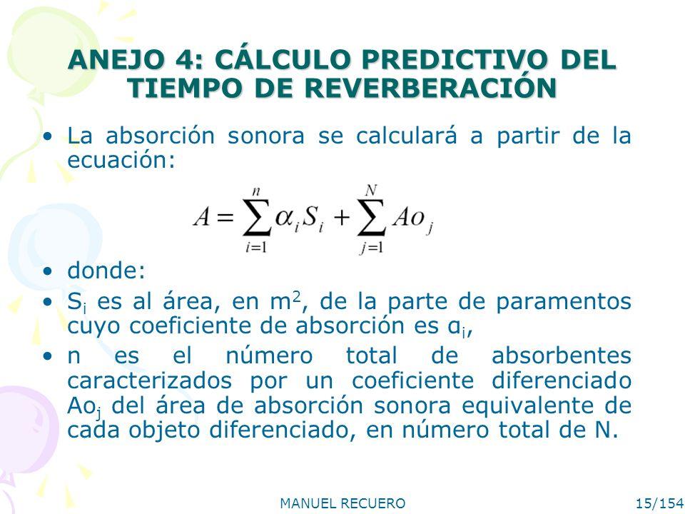 MANUEL RECUERO15/154 ANEJO 4: CÁLCULO PREDICTIVO DEL TIEMPO DE REVERBERACIÓN La absorción sonora se calculará a partir de la ecuación: donde: S i es a