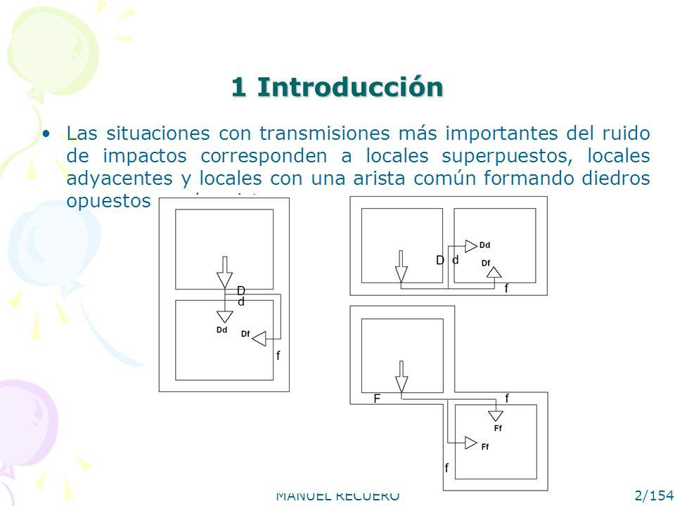 MANUEL RECUERO2/154 1 Introducción Las situaciones con transmisiones más importantes del ruido de impactos corresponden a locales superpuestos, locale