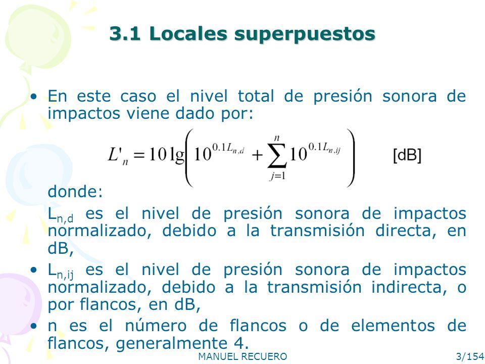 MANUEL RECUERO3/154 3.1 Locales superpuestos En este caso el nivel total de presión sonora de impactos viene dado por: donde: L n,d es el nivel de pre