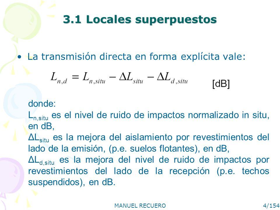 MANUEL RECUERO4/154 3.1 Locales superpuestos La transmisión directa en forma explícita vale: donde: L n,situ es el nivel de ruido de impactos normaliz