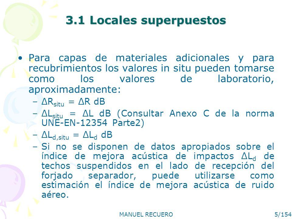 MANUEL RECUERO5/154 3.1 Locales superpuestos Para capas de materiales adicionales y para recubrimientos los valores in situ pueden tomarse como los va