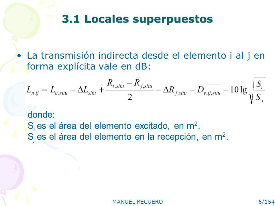 MANUEL RECUERO6/154 3.1 Locales superpuestos La transmisión indirecta desde el elemento i al j en forma explícita vale en dB: donde: S i es el área de