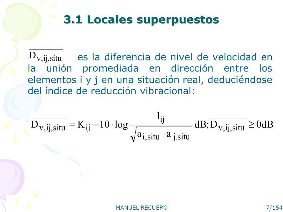 MANUEL RECUERO7/154 3.1 Locales superpuestos es la diferencia de nivel de velocidad en la unión promediada en dirección entre los elementos i y j en u
