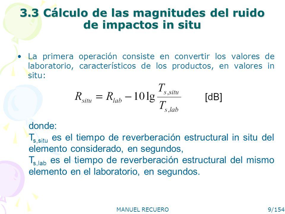 MANUEL RECUERO9/154 3.3 Cálculo de las magnitudes del ruido de impactos in situ La primera operación consiste en convertir los valores de laboratorio,