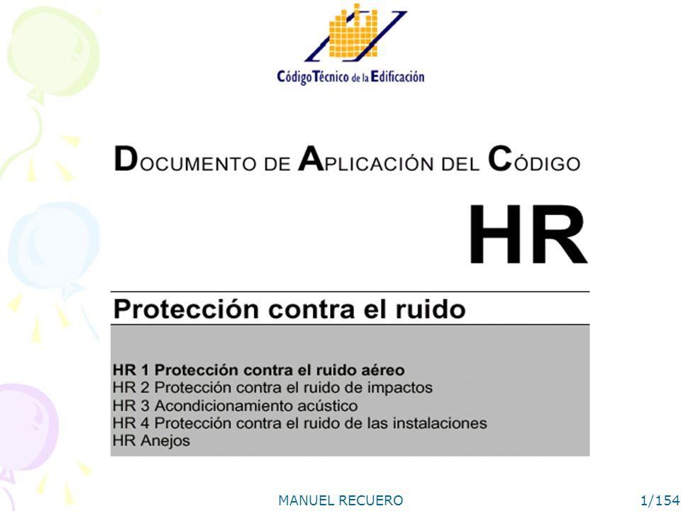 MANUEL RECUERO2/154 Sección HR 1 Protección contra el ruido aéreo I NIVELES DE AISLAMIENTO ACÚSTICO A RUIDO AÉREO II MÉTODO DE PREDICCIÓN DEL AISLAMIENTO ACÚSTICO A RUIDO AÉREO III SOLUCIONES ACEPTADAS –III.1 Particiones III.1.1 Observaciones y limitaciones generales de uso –III.2 Fachadas III.2.1 Observaciones y limitaciones generales de uso –III.3 Cubiertas III.3.1 Observaciones y limitaciones generales de uso IV ENSAYO IN SITU