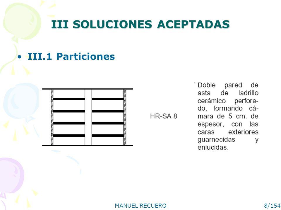 MANUEL RECUERO9/154 III.1.1 Observaciones y limitaciones generales de uso El tabique o pared divisoria cubrirá toda la superficie del hueco, tanto en su horizontal como entre forjados.